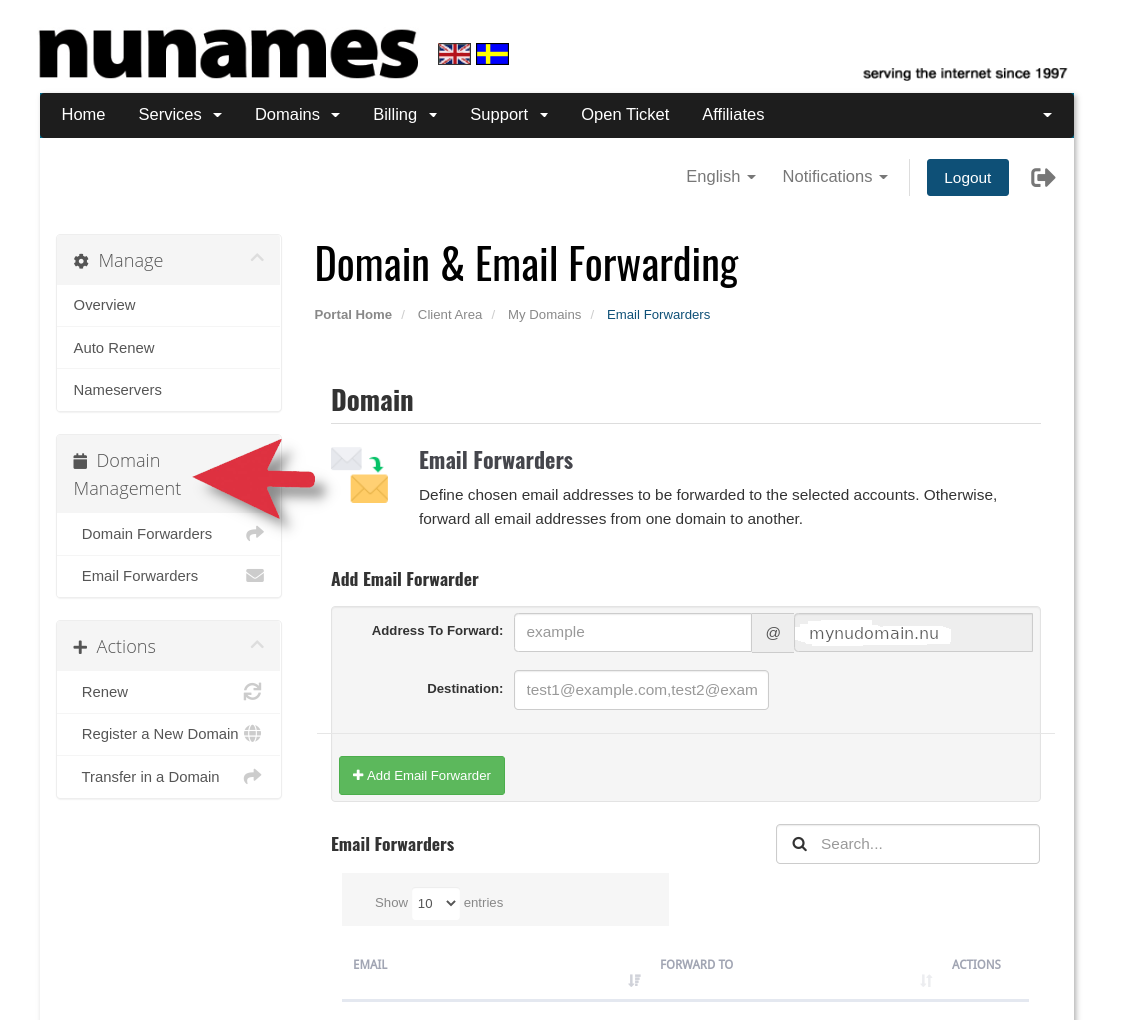 Domain and Email Forwarding Area